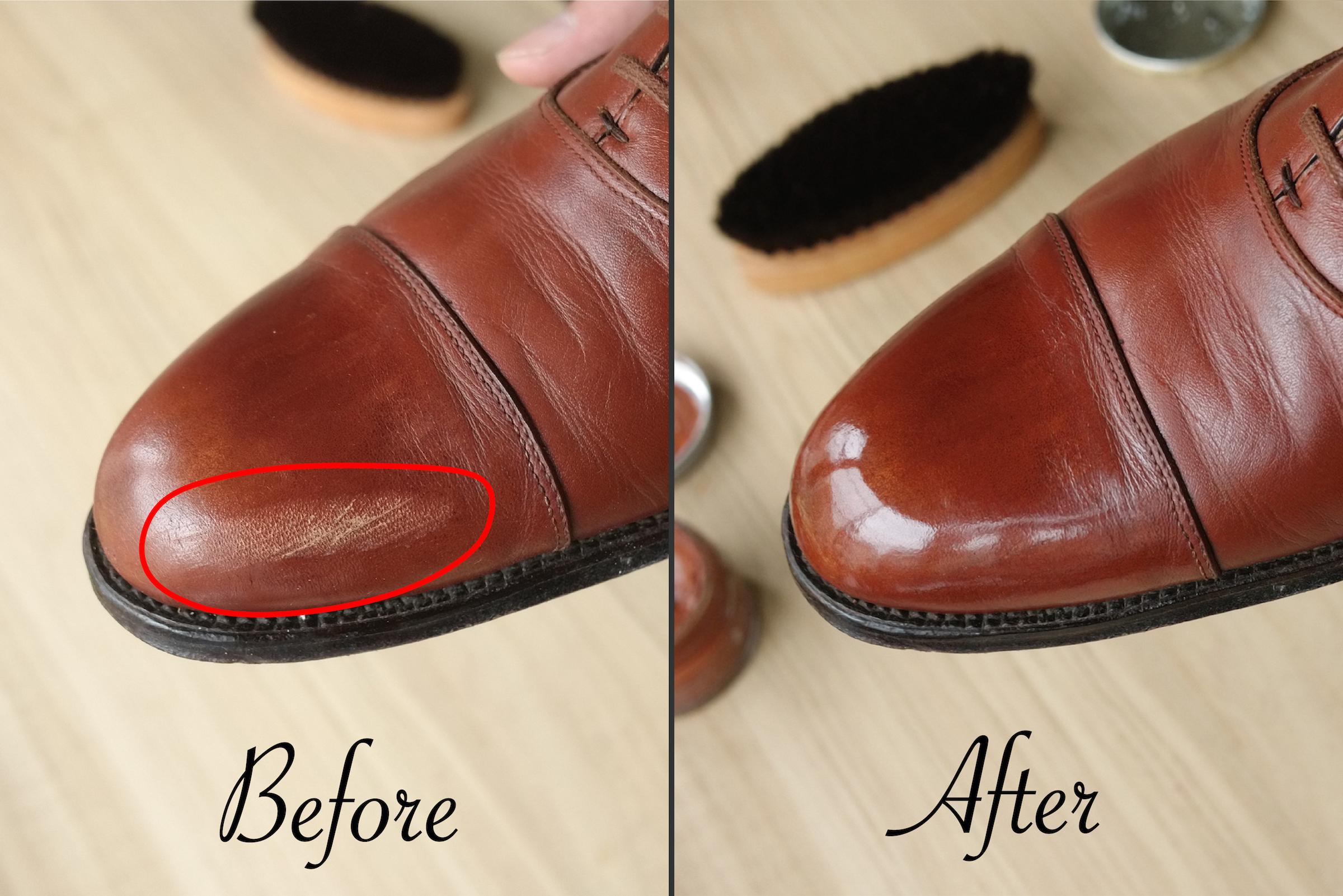 革靴の傷を自宅で簡単 \u0026 綺麗に補修する方法(擦りキズ、えぐれ、へこみなど)